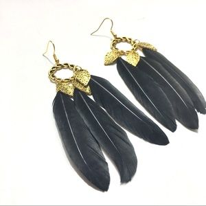 Feather and leaves Statement earrings